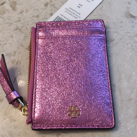 07f2c2ce0f62 🆕Tory Burch Crinkle Metallic zip card case